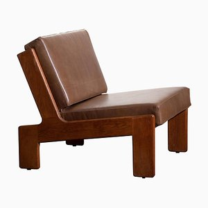 Oak and Leather Cubist Lounge Chair by Esko Pajamies for Asko, Finland, 1960s