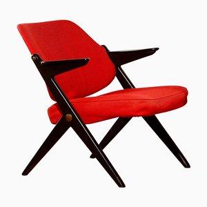 Black Birch & Red Wool Lounge Chair by Bengt Ruda for Nordiska Kompaniet, 1950s