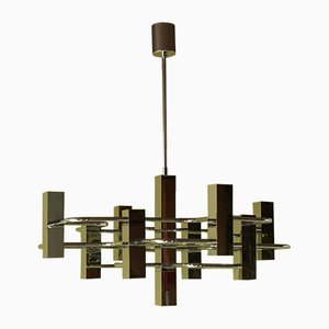 Chandelier in Chrome-Plated Metal by Gaetano Sciolari, 1980s