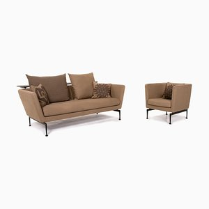 Light Brown Ocher Fabric Suita 2-Seat Sofa by Antonio Citterio for Vitra, Set of 2