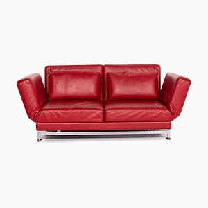 Red leather Moule 2-Seat Sofa by Roland Meyer-Brühl for Brühl & Sippold