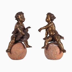 Putti's in bronzo dorato, Italia, XIX secolo, set di 2
