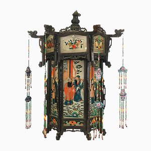 Antique Asian Blackened Wood & Painted Glass Lantern