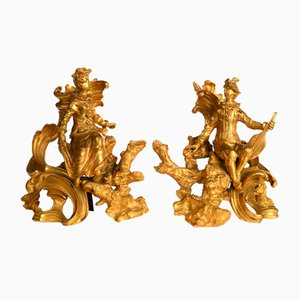 Antique Napoleon III Style Gilt Bronze Andirons, Set of 2
