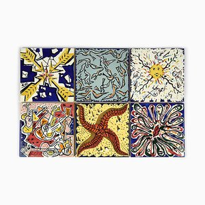Earthenware Tiles, Set of 6