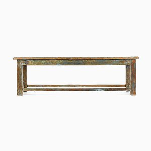 Patinated Wooden Bench, 1940s