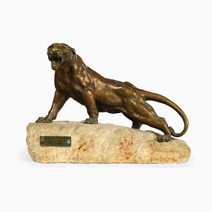 Bronze Lioness Roaring Sculpture by De Fiesole
