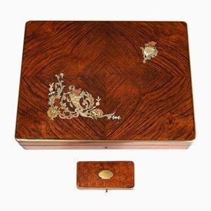 Antiker Spielkasten aus Holz mit Intarsien