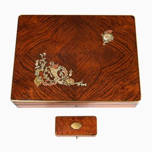 Antique Inlaid Wood Game Box
