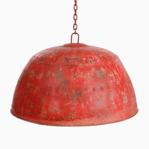 Vintage Red Patinated Iron Chandelier