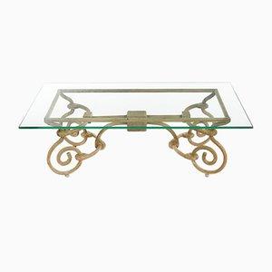 Table Basse Vintage en Fer avec Plateau en Verre