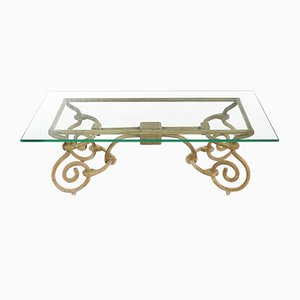 Vintage Iron Coffee Table with Glass Top