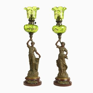 Antique Harvest & Vendange Oil Lamps in Regulates Ruchot, Set of 2