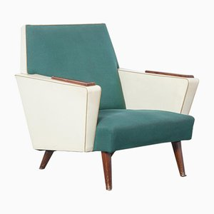 Green and Cream Lounge Chair, 1950s