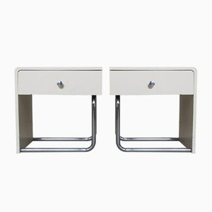 Cream and Chrome Tube Nightstands, 1950s, Set of 2