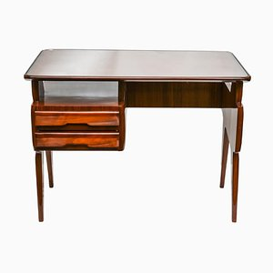 Italian Modern Writing Desk in Polished Mahogany by Vittorio Dassi, 1950s