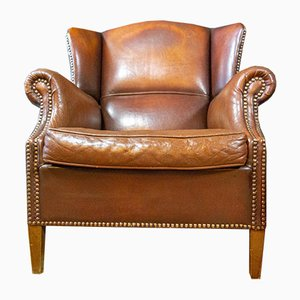 Vintage Brown Leather Wing Chair