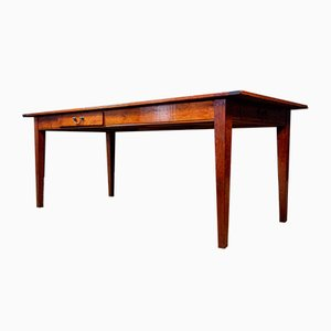 Antique Red-Brown Cherry Dining Table with Drawers