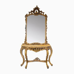 Vintage Italian Mirror with Console, 1950s