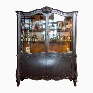 Antique Viennese Black Display Cabinet with Round Belly, 1880s