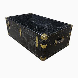 Black Overland Trunk with Brass Fittings, New York, 1930s
