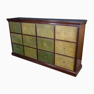 Antique Cartonnier Wall Unit with Sliding Doors