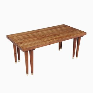 Mid-Century Teak Expandable Slat Bench Coffee Table, 1950s