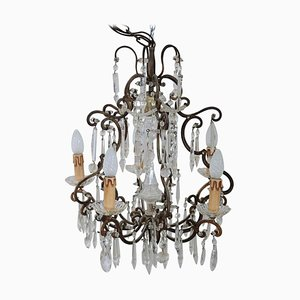 Art Nouveau Bronze and Crystals Chandelier, 1905s