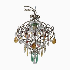 Art Nouveau Bronze and Colored Crystals Chandelier, 1905s