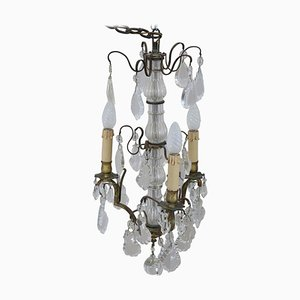 Vintage Bronze and Crystals Chandelier, 1920s