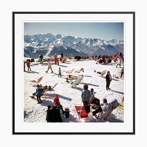 Verbier Vacation Oversize C Print Framed in Black by Slim Aarons