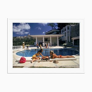 Poolside Backgammon Oversize C Print Framed in White by Slim Aarons