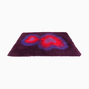 Vintage Pop Art Danish High Pile Wool Psychedelic Rug by Carin Agner Nielsen for Ege Taepper, 1970s