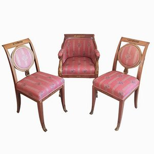 Antique Empire Armchairs with Bronze Ornaments, Set of 3
