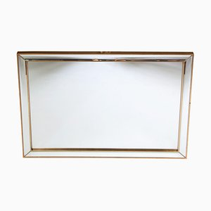 Large Vintage Hollywood Regency Belgian Brass and Faceted Cut Glass Mirror from Deknudt, 1970s