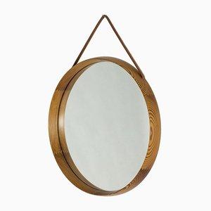 Espejo de pared de pino de Uno & Östen Kristiansson para Luxus, años 50