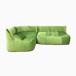 Vintage French Green 2-Seater Aralia Corner Sofa from Ligne Roset, 1980s