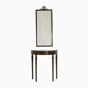 Mahagoni Konsolentisch mit Spiegel Set von Axel Einar Hjorth, 1950er
