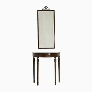 Mahogany Console Table and Mirror Set by Axel Einar Hjorth, 1950s