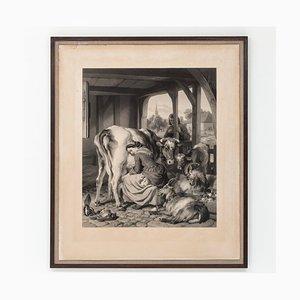 Grabado de sirvienta y urraca antigua de Samuel Cousins para Landseer