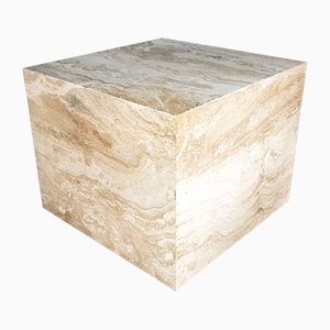 Large Travertine Cube Side Table on Wheels, 1970s