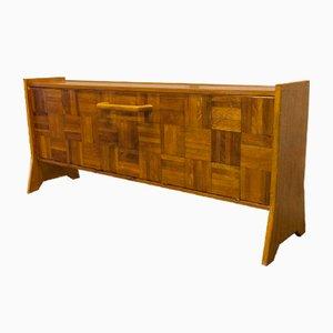 Mueble bar de madera naranja y cerámica, años 70