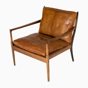 Mid-Century Leather and Rosewood Samsö Armchairs by Ib Kofod-Larsen for OPE Möbler, Set of 2