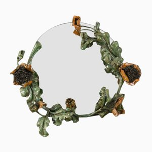 Art Nouveau Round Wrought Iron Poppies Floral Wall Mirror, 1930s