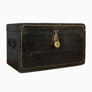 Antique Victorian English Ebonised Pine Carriage Chest Tool Trunk, 1850s
