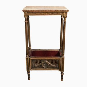 Antique Louis XVI Style Gilded Wood, Wicker and Onyx Planter, 1900s