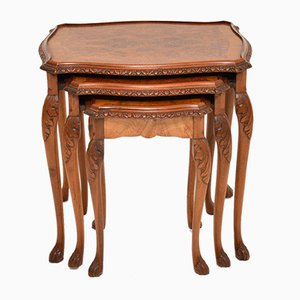Antique Queen Anne Style Burr Walnut Nesting Tables, 1930s