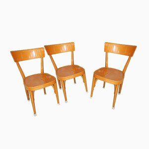Beech Dining Chairs, 1960s, Set of 3