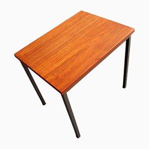Minimalist Teak and Metal Side Table, 1970s