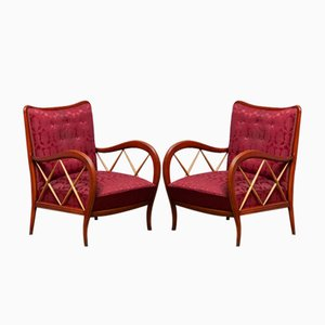 Italian Mahogany and Beech Armchairs by Paolo Buffa, 1940s, Set of 2
